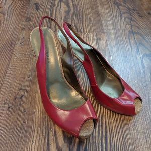 Apostrophe Red Stiletto Peep Toe Cork Heels